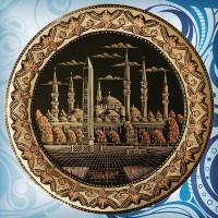 Erzincan El İşi Bakır Tarama Tabak - Sultan Ahmet Camii